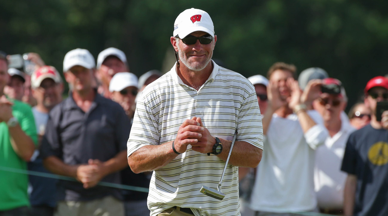 Former Green Bay Packers quarterback Brett Favre smiles during the celebrity golf scramble on the 18th hole during the second round of the 2016 Champions Tour American Family Insurance Championship.