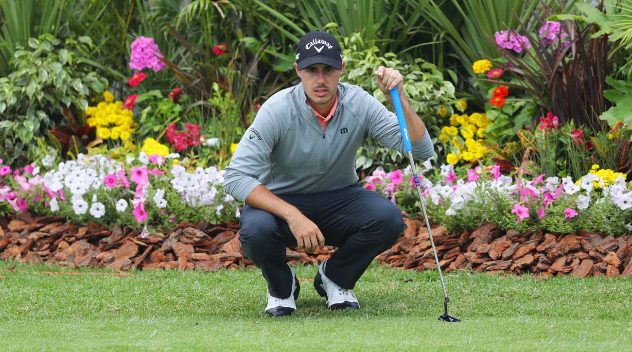 Chase Koepkalines up a putt on the 18th green during day one of the BMW South African Open Championship