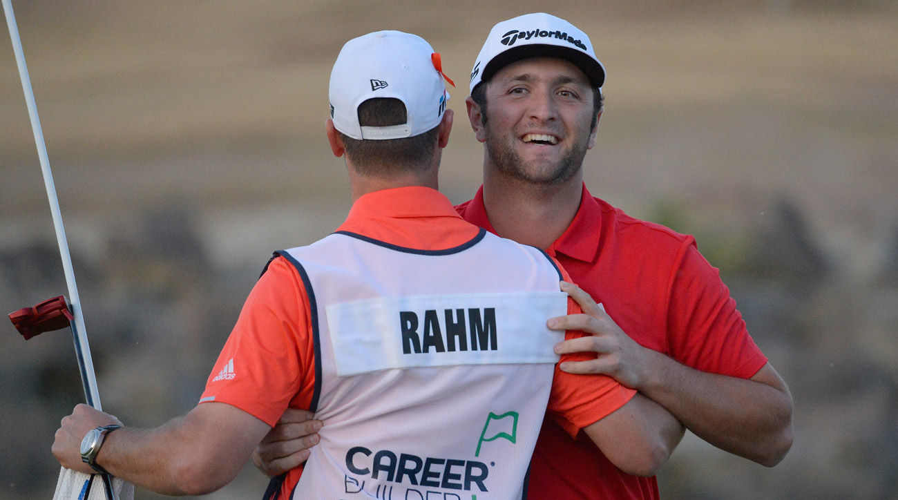 Jon Rahm reacts to his putt to win the sudden death playoff during the final round of the 2018 CareerBuilder Challenge.