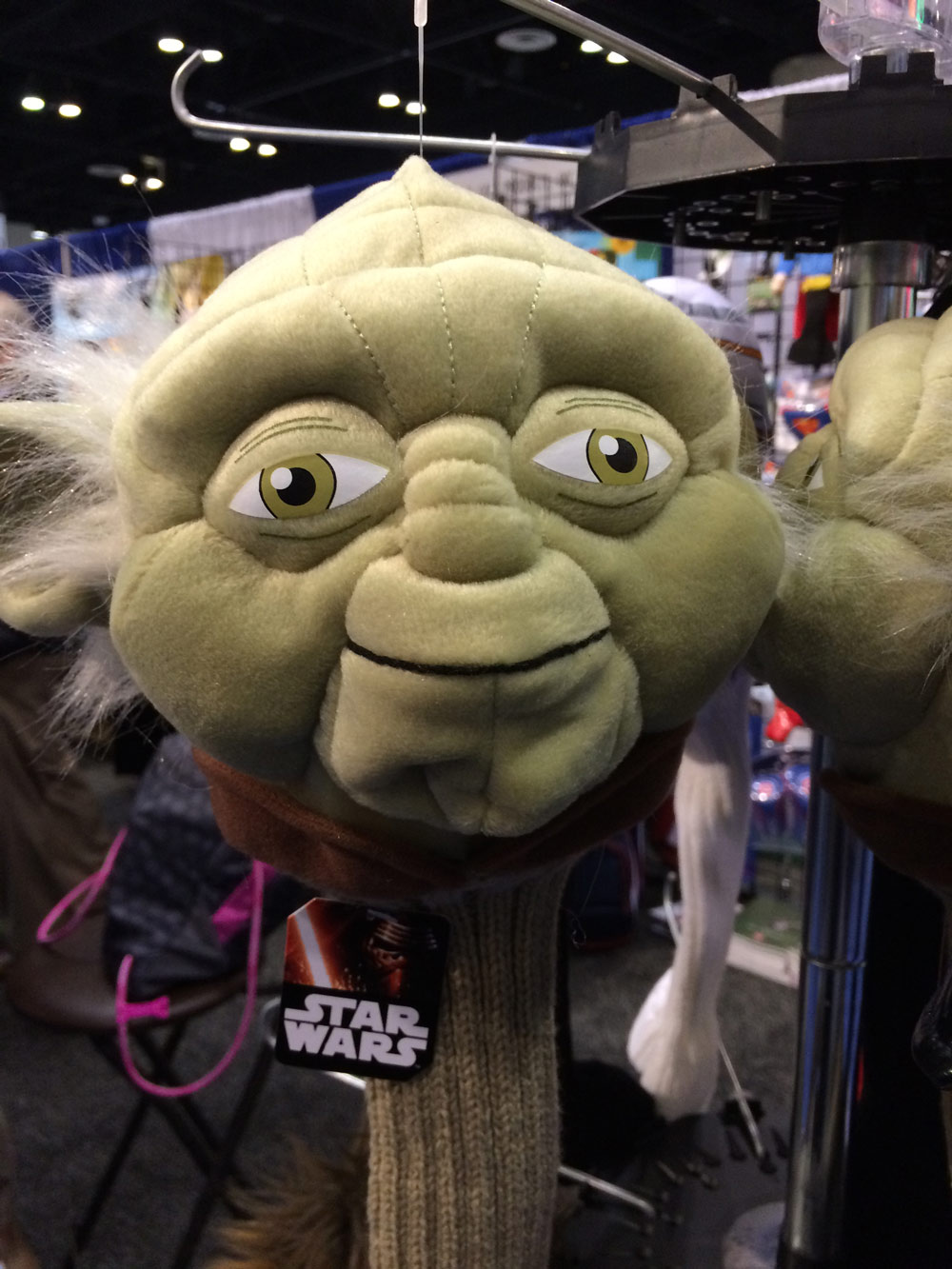 The Yoda head cover is one of eight Star Wars themed head covers distributed by Hornungs golf products. Yoda, Darth Vader and Kylo Ren are all part of the group available for drivers and hybrid head covers. $20-$25; hornungs.com