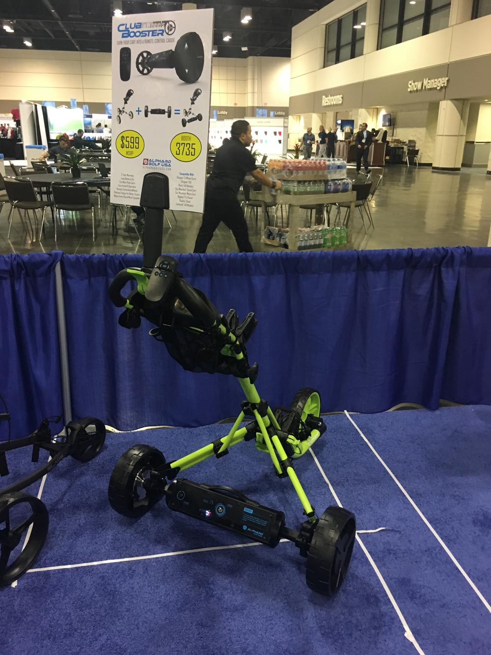 The Alphard Golf Club Booster turns your push cart into a remote control caddie! $599; alphardgolf.com