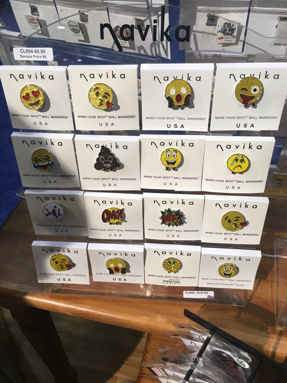 Navika ball markers are a favorite on the LPGA Tour, and who could resist a bedazzled emoji marker? $20.95; navika.com