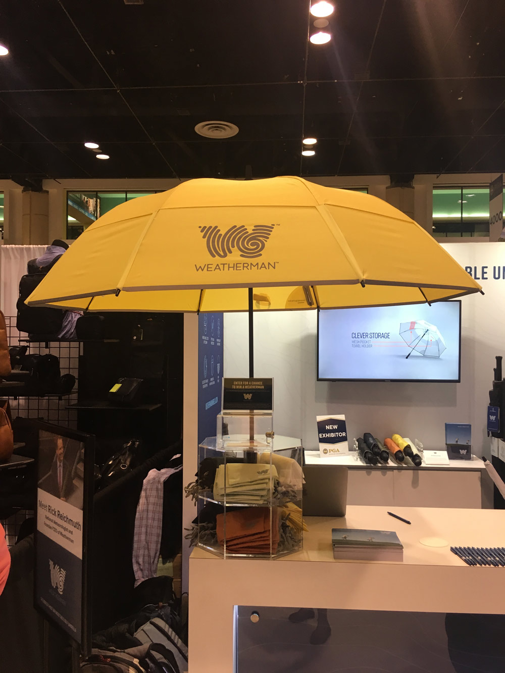 "The Weatherman umbrella was designed by a meteorologist. It offers both UV and rain protection and can withstand wind speeds of 55 mph. Plus, it's equipped with Bluetooth, so you can receive an alert on your phone when it might be needed. 62"": $89, 68"": $95; weathermanumbrella.com/golf"