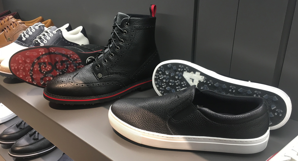 G/Fore takes lifestyle crossover golf shoes to a new level with the Golf Boot (left, $325) and the Killer T Slip-On (right, $185). gfore.com