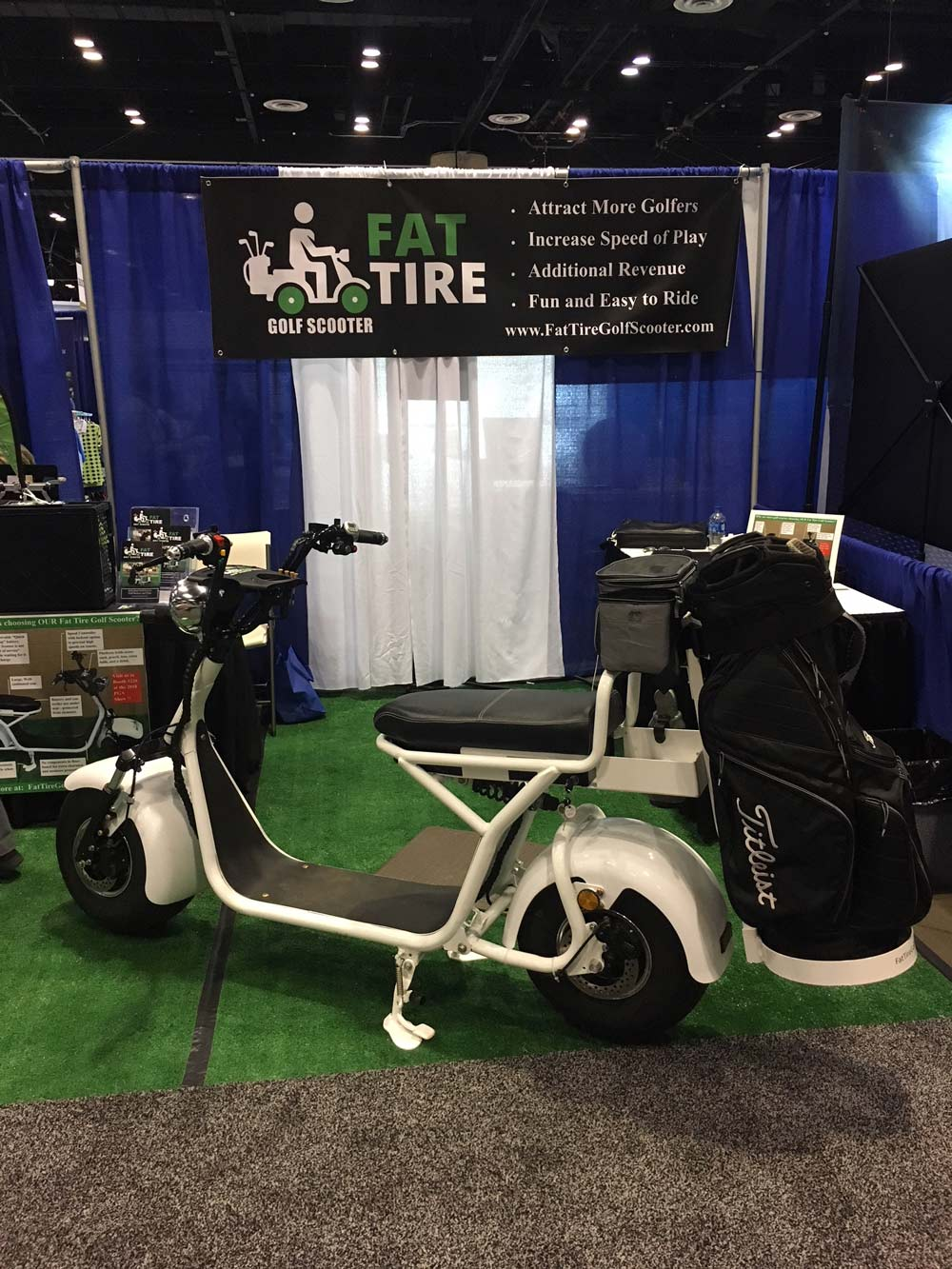 This single-rider cart operates like a scooter and can travel 36 holes on a single charge. $2,399. fattiregolfscooter.com