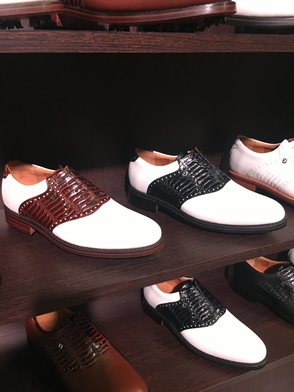 The FJ 1857 collection's footwear line features hand-selected premium Italian calfskin leathers, leather outsoles, full leather linings and suede heel pockets. $750; footjoy.com