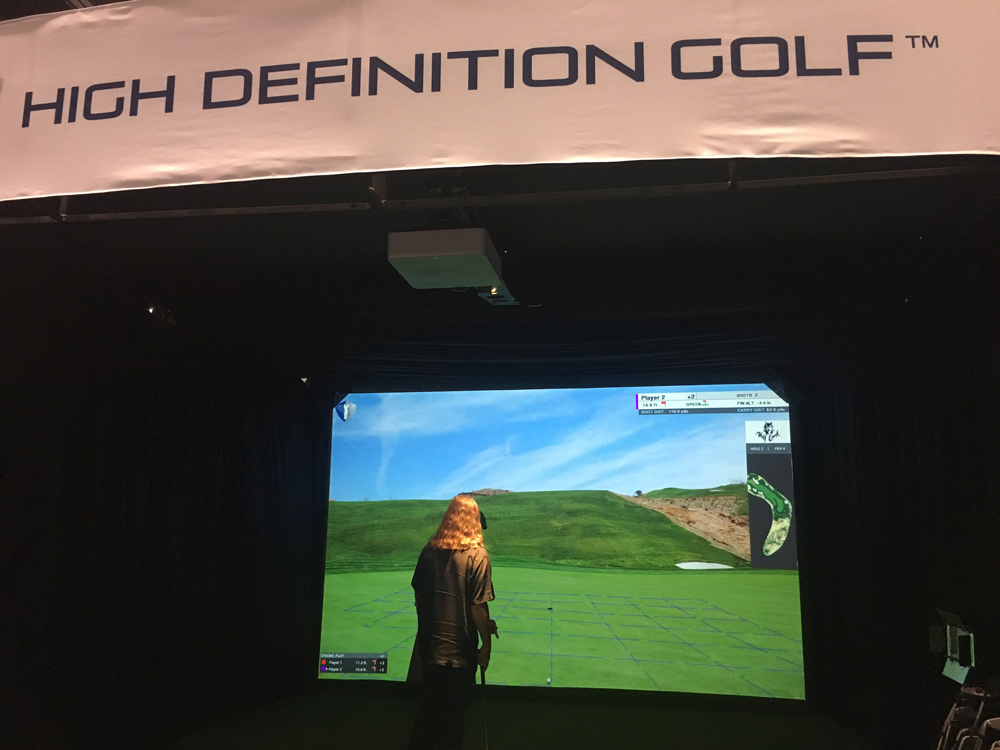 Play golf from your living room with High Definition Golf's simulator. It's yours for $55,000-$60,000. highdefinitiongolf.com