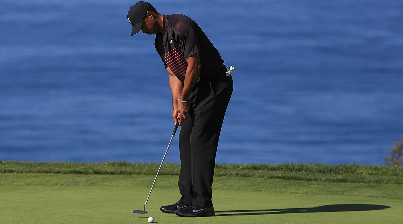 Woods hit some good lag putts on Thursday, but he struggled to hole many putts.