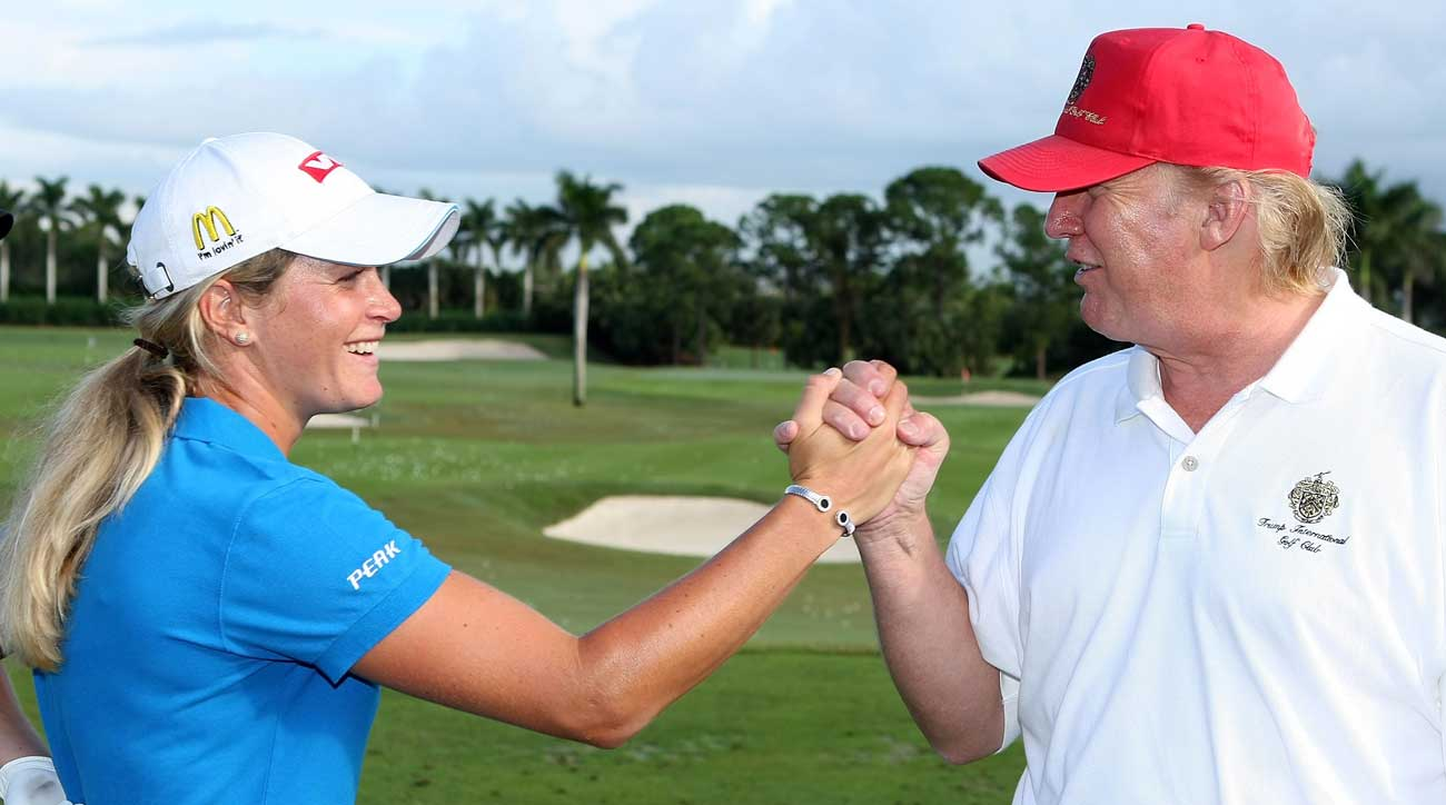 Suzann Pettersen greets President Trump at Trump International Golf Club in 2007.