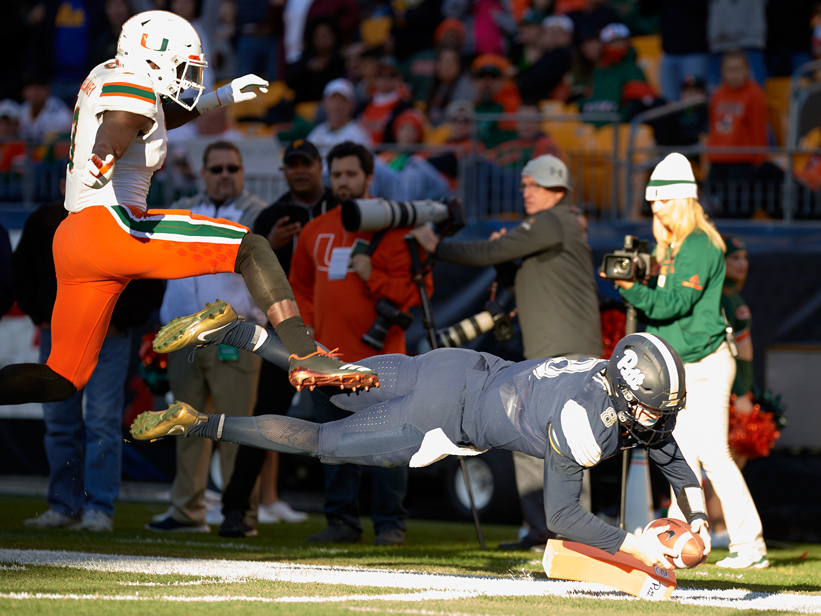 When the magic finally ran out for Miami, it ran out all at once. Pitt held the ball for 36:30 of game time, and a 22-yard scamper by freshman QB Kenny Pickett with under three minutes left officially knocked the Hurricanes from the ranks of the unbeaten on Black Friday. At 4–7, the Panthers were playing for nothing but pride—and the chance to extend the program's pattern of upsetting No. 2 teams with their eyes on the national title, as West Virginia learned in 2007.