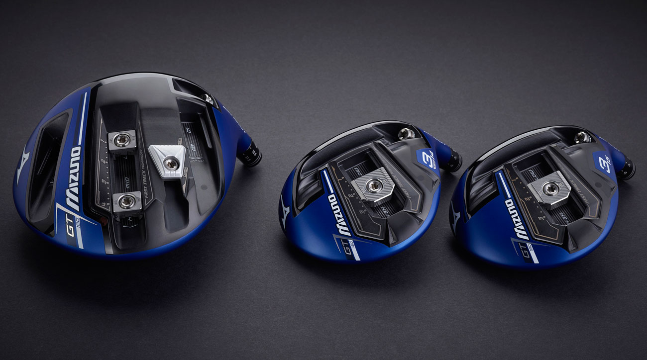 The new Mizuno GT180 driver (left) and fairway woods.