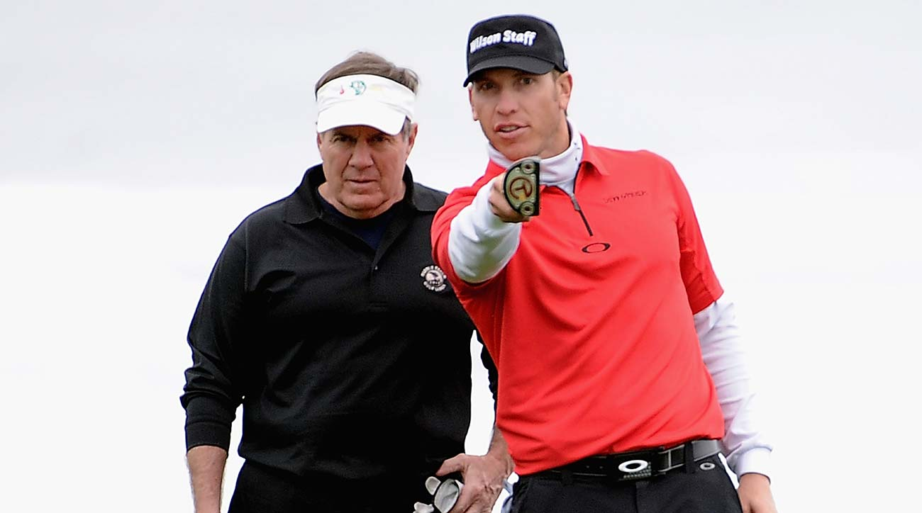 Bill Belichick and Ricky Barnes line up a putt on the 9th hole during the final round of the AT&T Pebble Beach National Pro-Am in 2012.