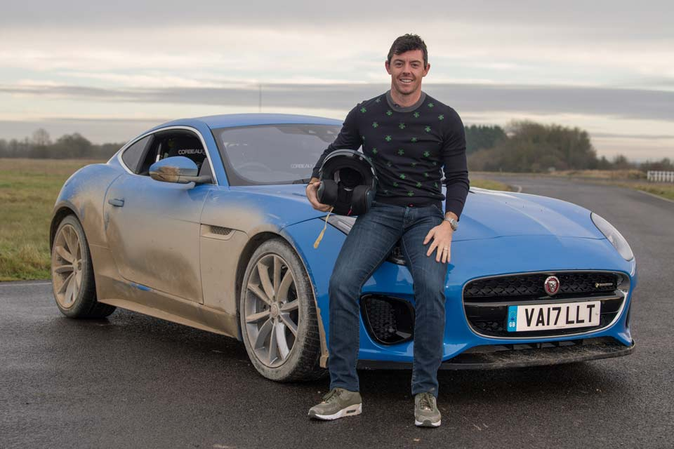"Rory McIlroy raced Paris Hilton in a Jaguar F Type for the British series ""The Grand Tour."""
