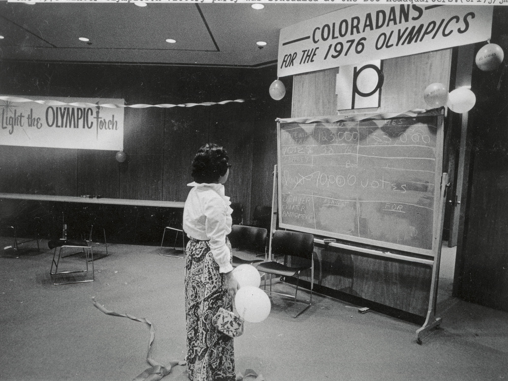 Colorado voters rejected funding of the 1976 Winter Olympics. A victory party was scheduled at the DOOC headquarters.
