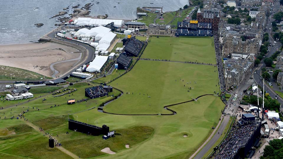 An aerial view of the 1st, 17th and 18th holes at the Old Course at St. Andrews, host of the 2021 Open Championship.