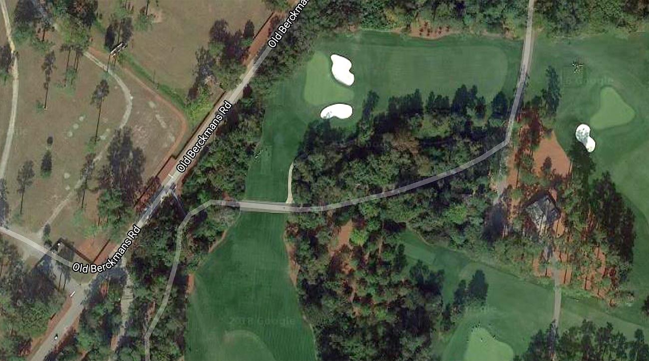 From above, the current 5th-hole teeing ground can be seen just below-left of the 4thgreen. The new proposal would push the tee across Old Berkmans Road, and reroute the street around the tee box.
