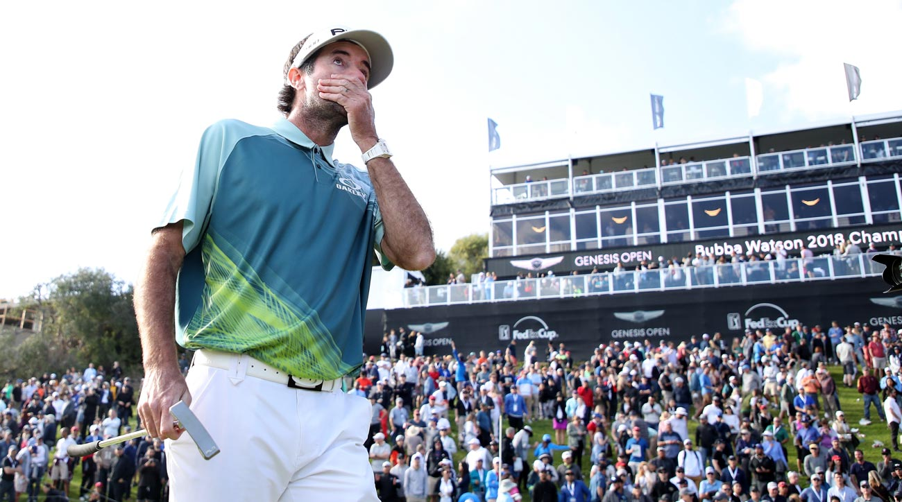 Bubba Watson reacts after winning the 2018 Genesis Open at Riviera Country Club.