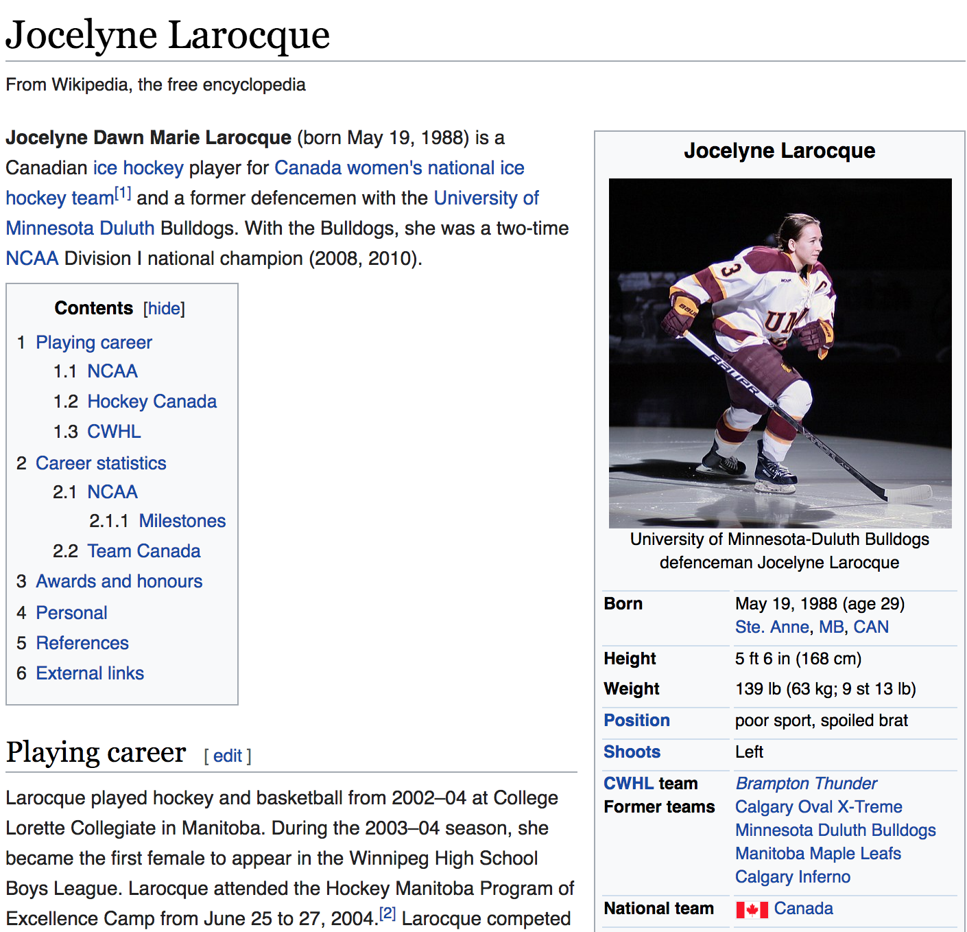 jocelye laroque wikipedia page change usa canada