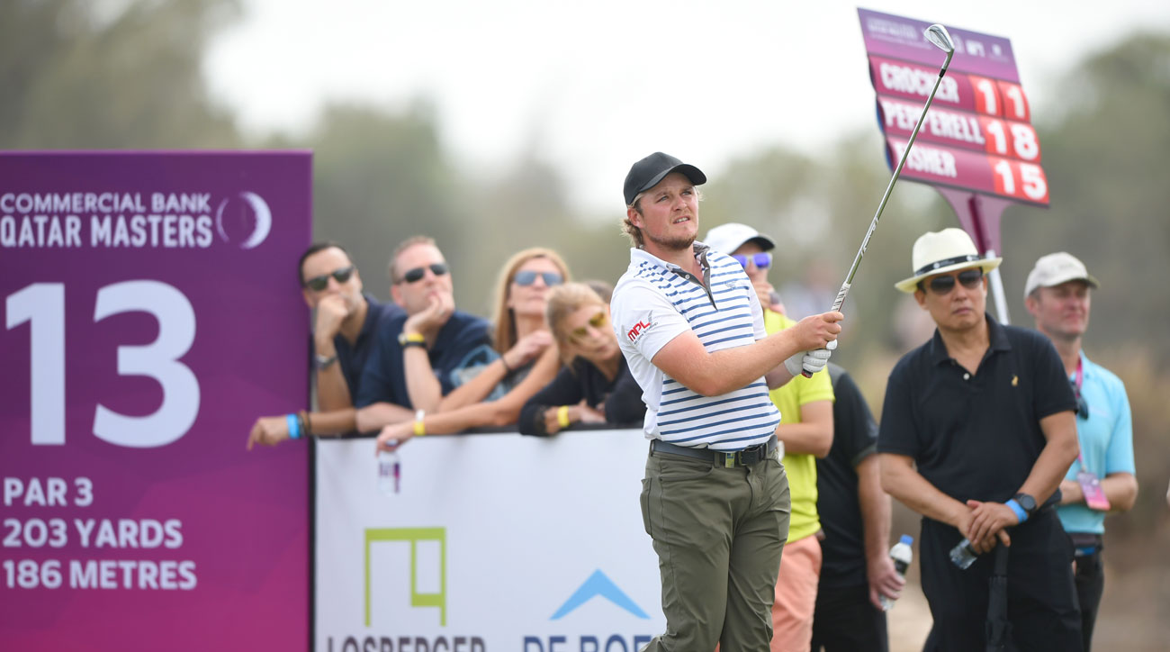 Eddie Pepperell tees off on the 13th hole during the final round of the Commercial Bank Qatar Masters.