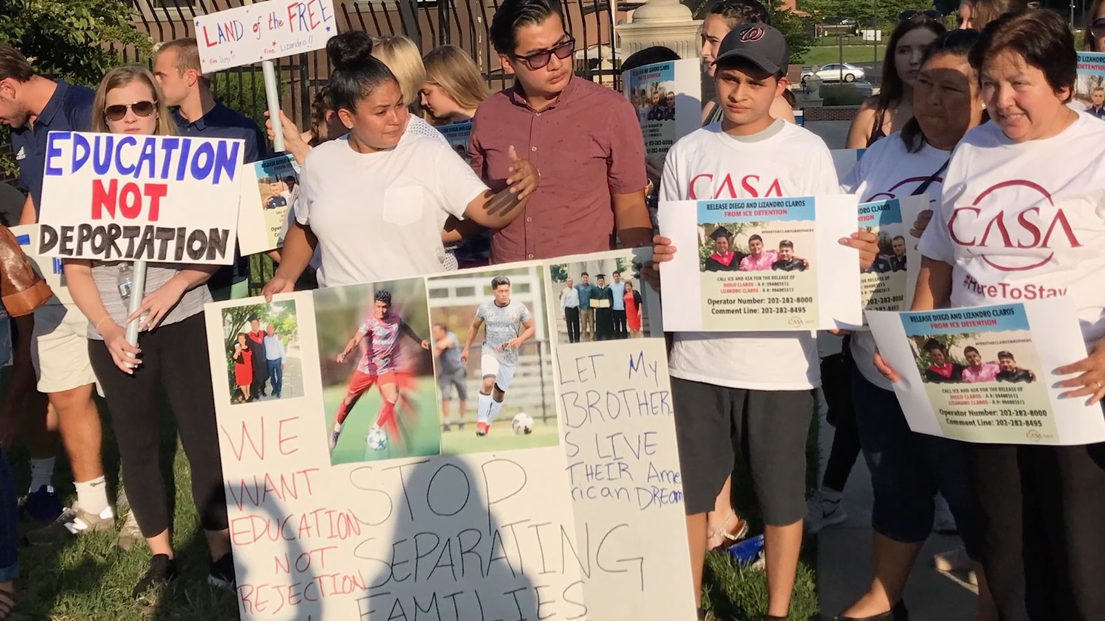 Friends and family protest in support of the Saravia brothers