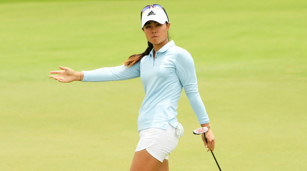Danielle Kang reacts on the 18th green during round one of the HSBC Women's World Championship.