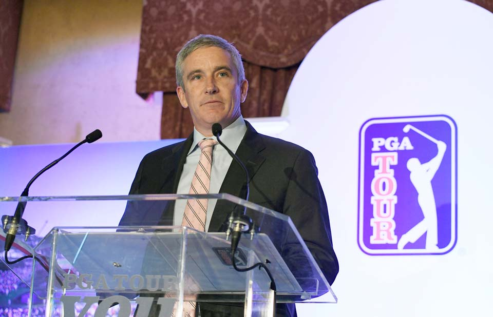PGA Tour commissioner Jay Monahan addresses media and employees at the PGA Tour's headquarters in January.