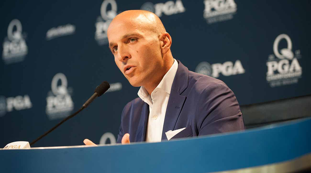 PGA of America CEO Pete Bevacqua speaks to the media at the 2017 PGA Championship.