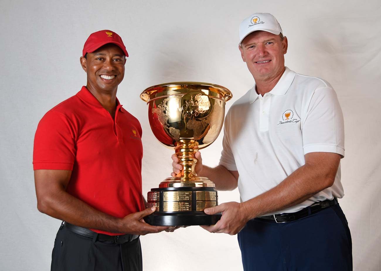Tiger Woods and Ernie Els pose with the Presidents Cup. Woods will captain the U.S. team in Australia next year, while Ernie Els will head the Internationals.
