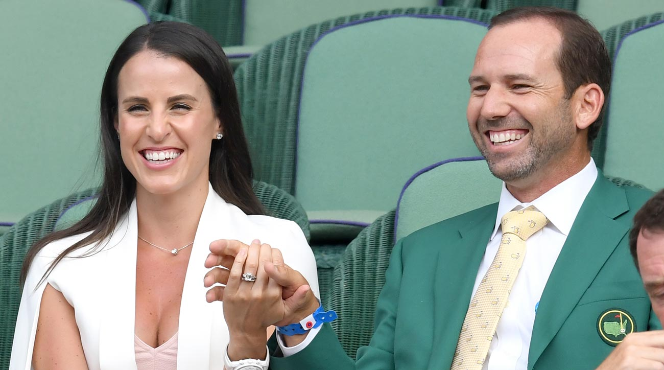 Angela Akins and Sergio Garcia attend day 5 of Wimbledon 2017 on July 7, 2017 in London, England.