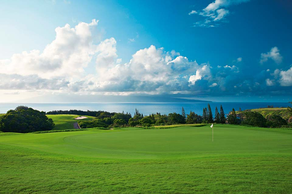 The majestic 13th green at Kapalua's Plantation course.