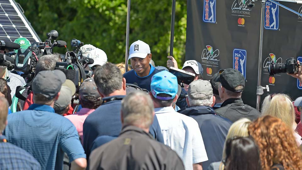 Tiger Woods addresses the media after a first-round 68 at the 2018 Arnold Palmer Invitational.