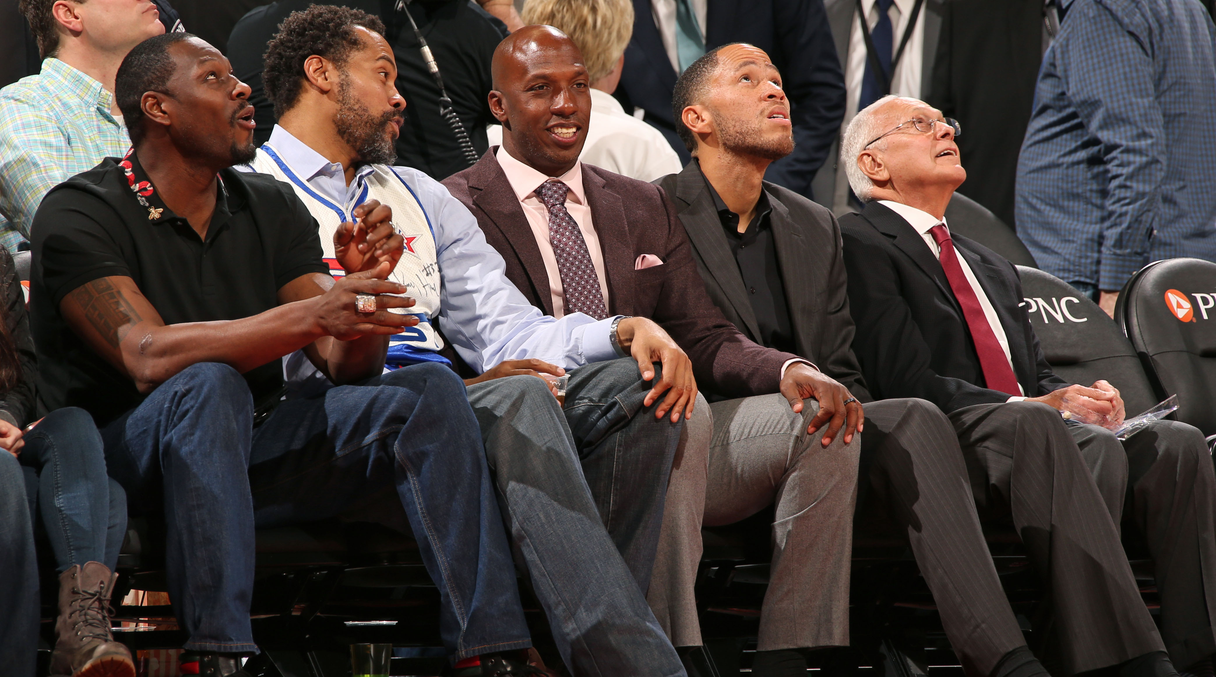 AUBURN HILLS, MI - FEBRUARY 26:  Former Detroit Pistons, Ben Wallace, Rasheed Wallace, Chauncey Billups and Tayshaun Prince attend the game against the Boston Celtics on February 26, 2017 at The Palace of Auburn Hills in Auburn Hills, Michigan. NOTE TO USER: User expressly acknowledges and agrees that, by downloading and/or using this photograph, User is consenting to the terms and conditions of the Getty Images License Agreement. Mandatory Copyright Notice: Copyright 2017 NBAE (Photo by Brian Sevald/NBAE via Getty Images)