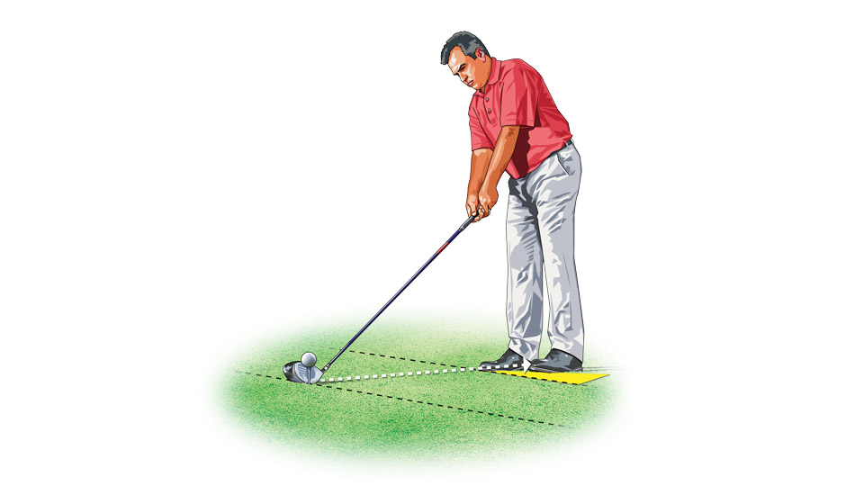 To hit a high fade, aim your feet 20 yards left of the target, then swing the club on a line that runs roughly between the two targets.