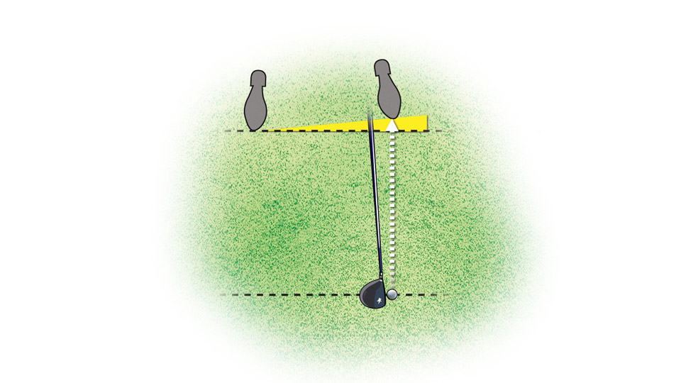 The high fade is a great tool to have when you absolutely must hit the fairway. To execute the shot, start by playing the ball off your left toe.
