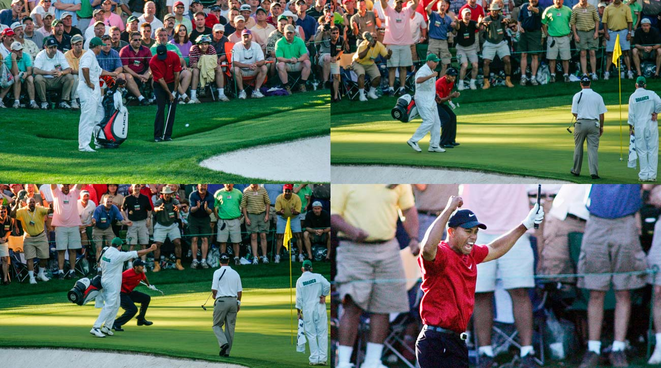 """In your life, have you seen anything like that?!?"" Verne Lundquist's famous call came about 15 seconds after Woods played the chip and as the ball hung on the edge of, then fell in, the cup for birdie."