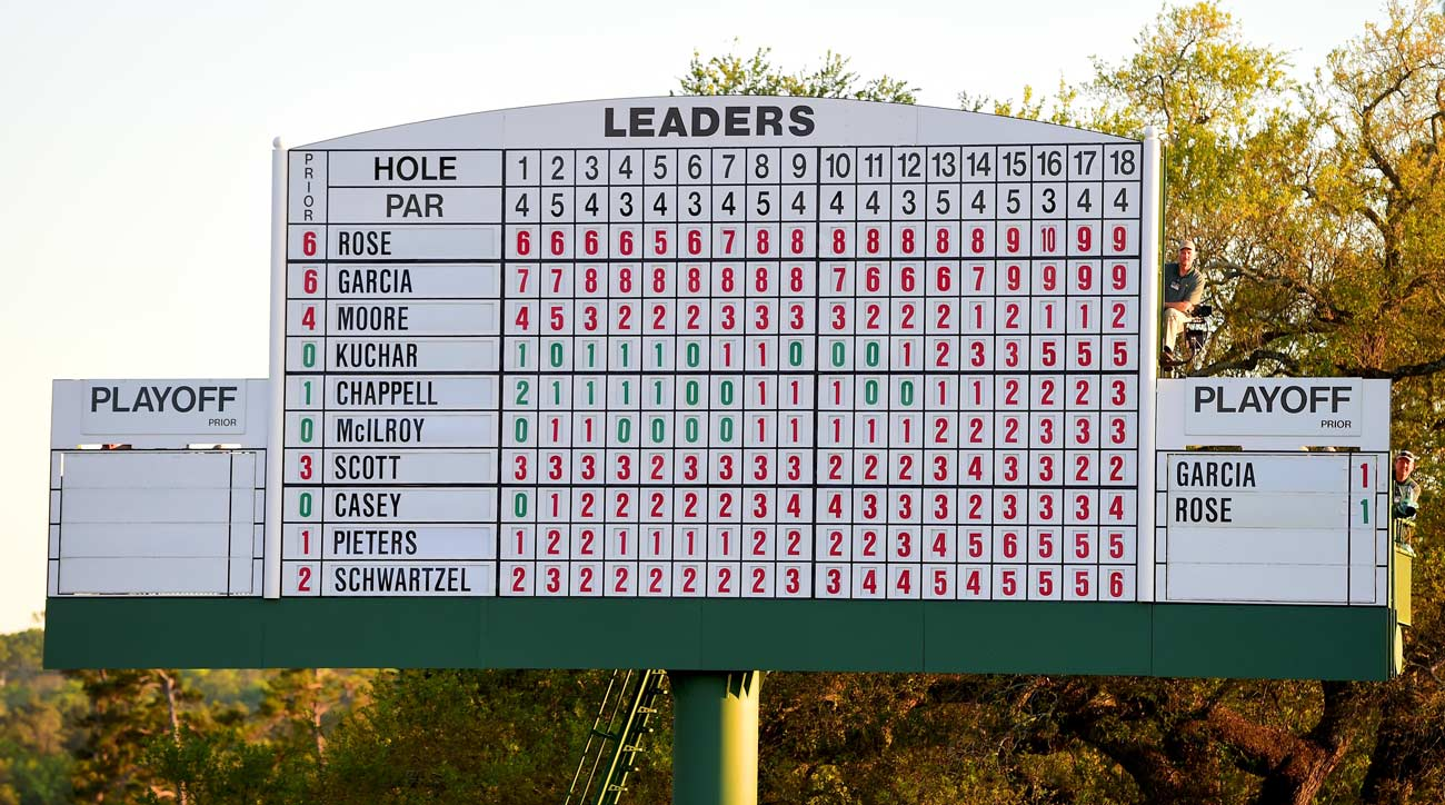 The leaderboard on the 18th green is seen during the final round of the 2017 Masters Tournament at Augusta National.