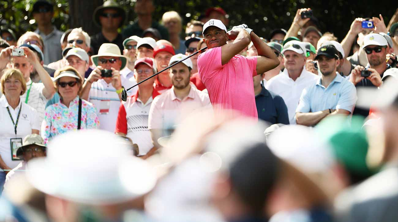 Tiger Woods played nine holes on Monday, and the crowds followed him the entire way.