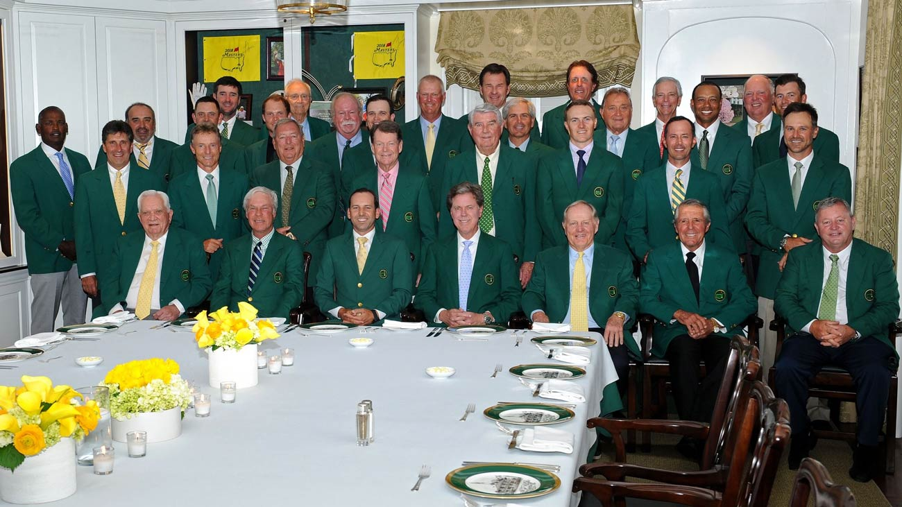 Former Masters champions join ANGC chairman Fred Ridley to celebrate Sergio Garcia's Masters win.