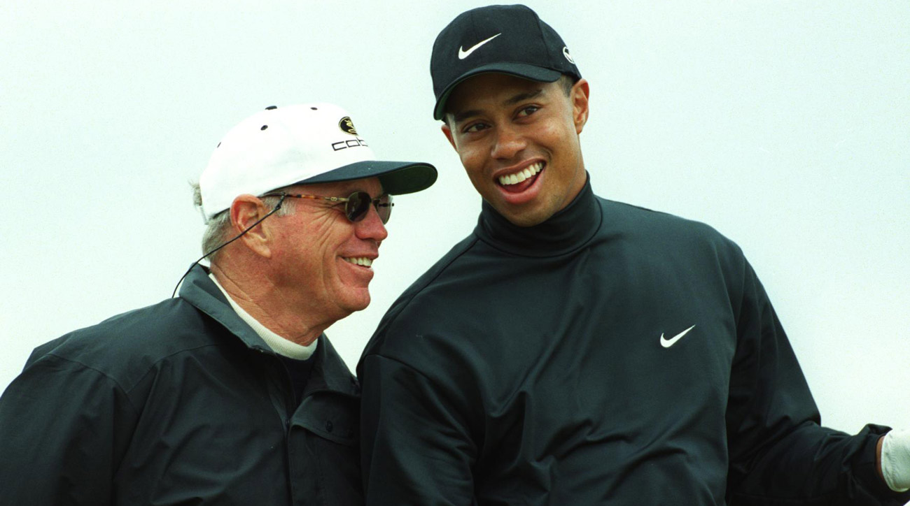 Butch Harmon and Tiger Woods at the 1999 Open Championship.