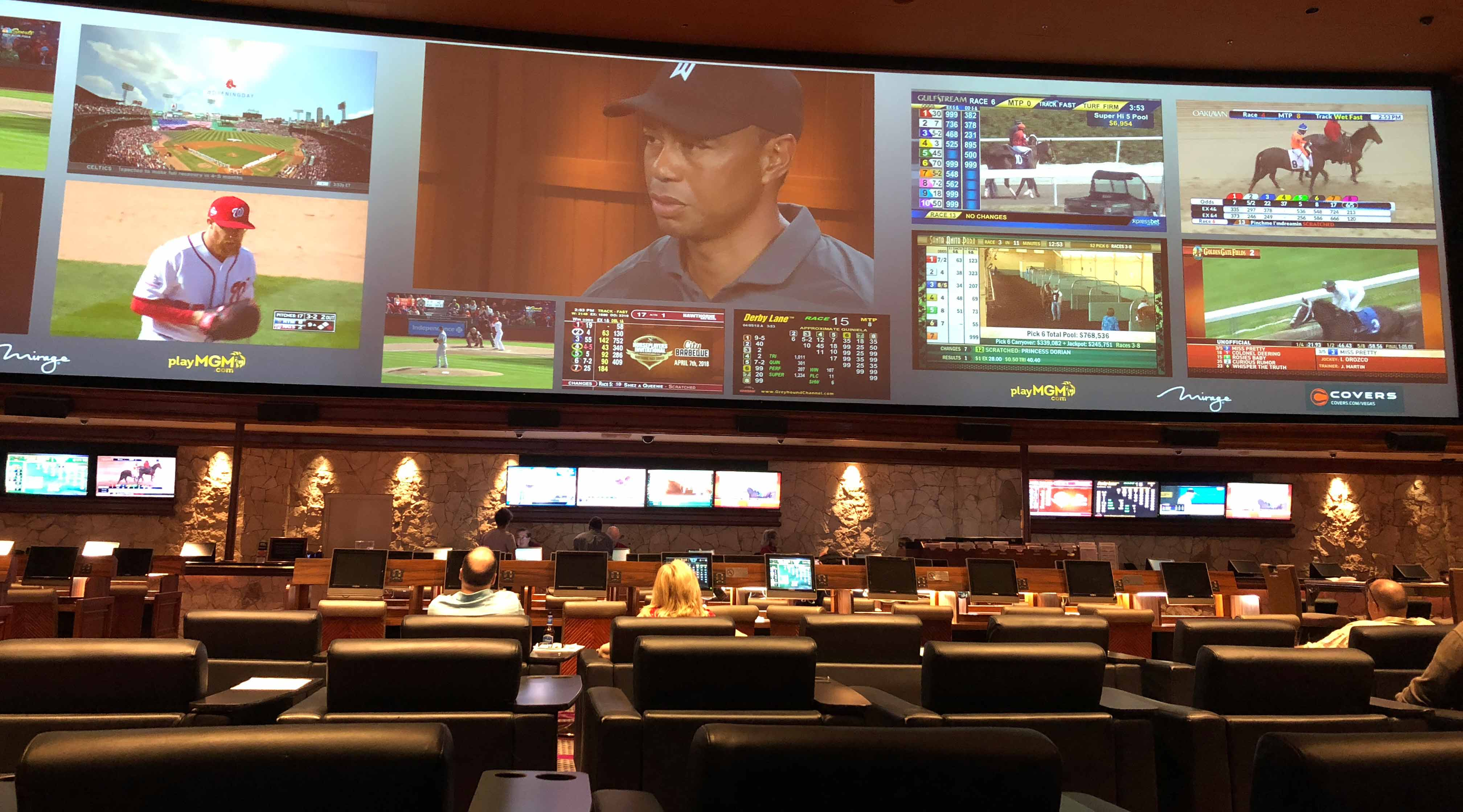 The Masters took center stage Thursday at the Mirage sportsbook in Las Vegas.