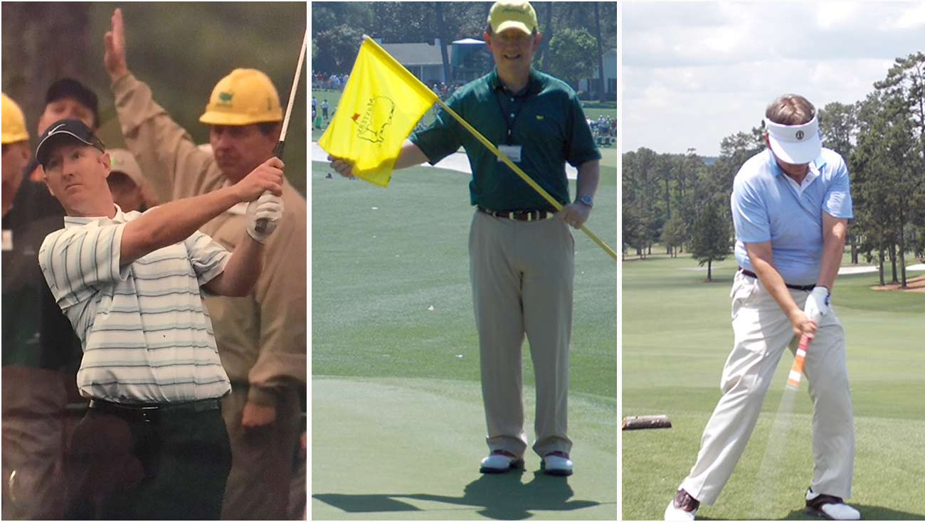 Augusta memories: Marshaling behind Duval in the early 2000s; A stolen moment on the 1st green; Letting it fly on volunteer appreciation day.
