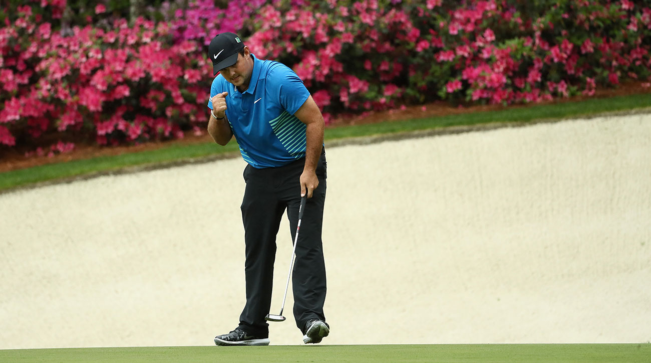 Patrick Reed pumps his first after making an eagle on the par-5 13th.