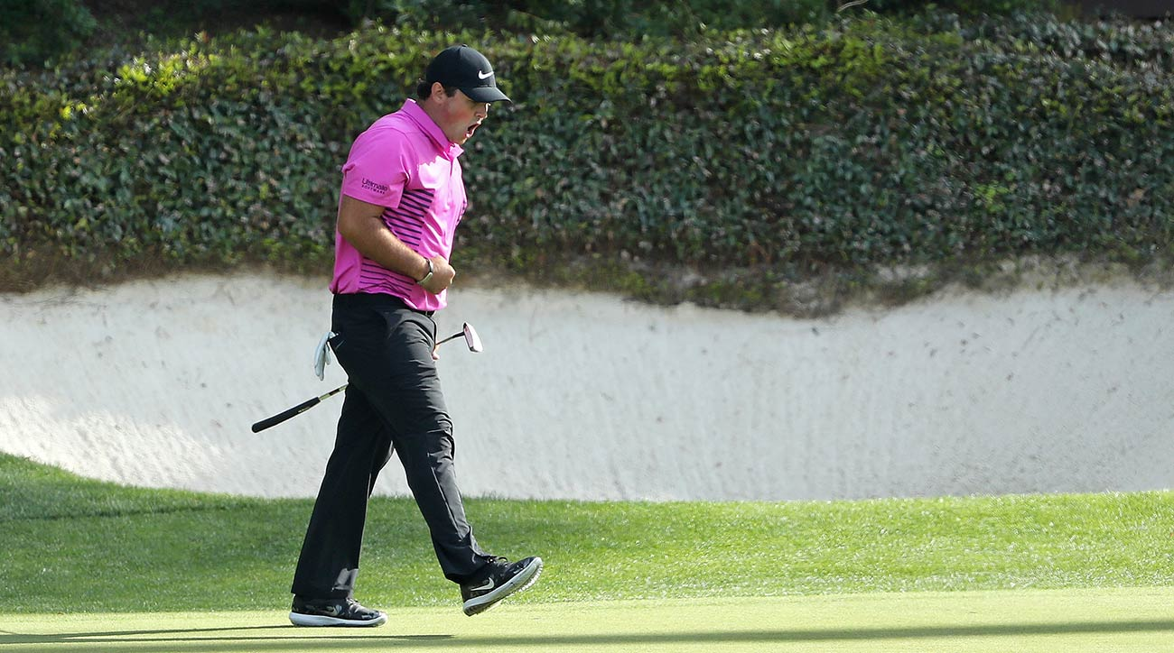 Patrick Reed celebrates a birdie on the 12th hole of the final round of the 2018 Masters at Augusta National Golf Club.