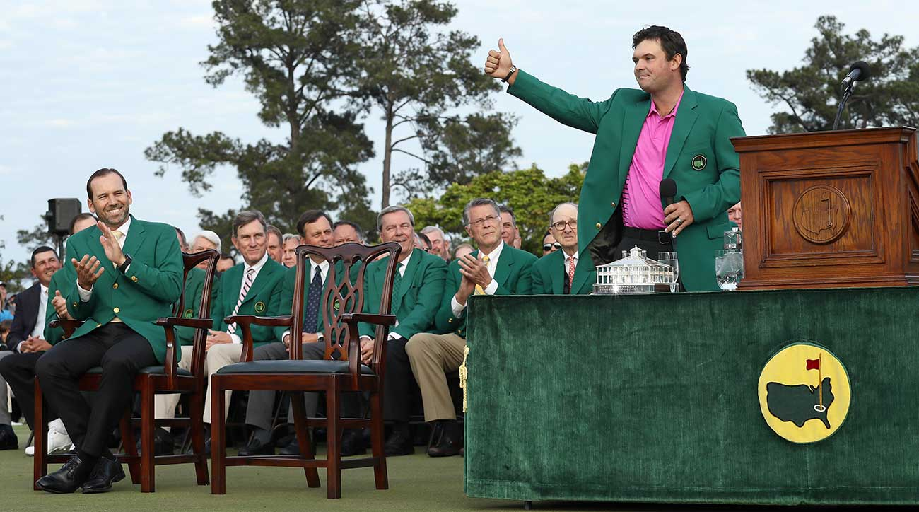 New Masters champion Patrick Reed waves to the crowd on Sunday evening in Augusta.