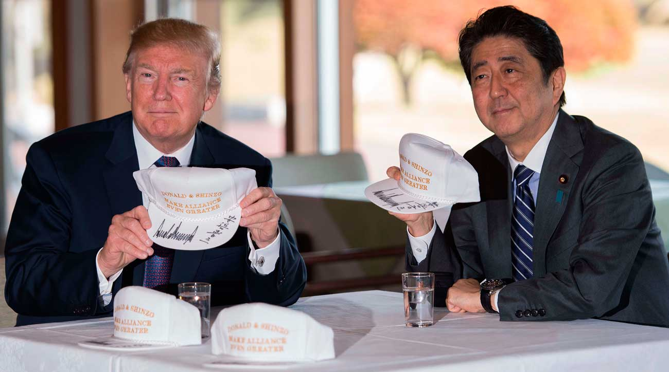 "During their last meeting, Trump and Abe bonded over hats that read ""Donald and Shinzo Make Alliance Even Greater"""