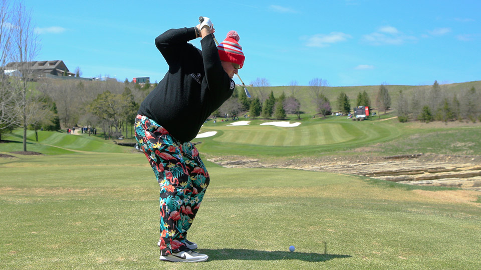 John Daly (pictured here during the first round) and his partner Michael Allen are thriving in the chilly Missouri temperatures.