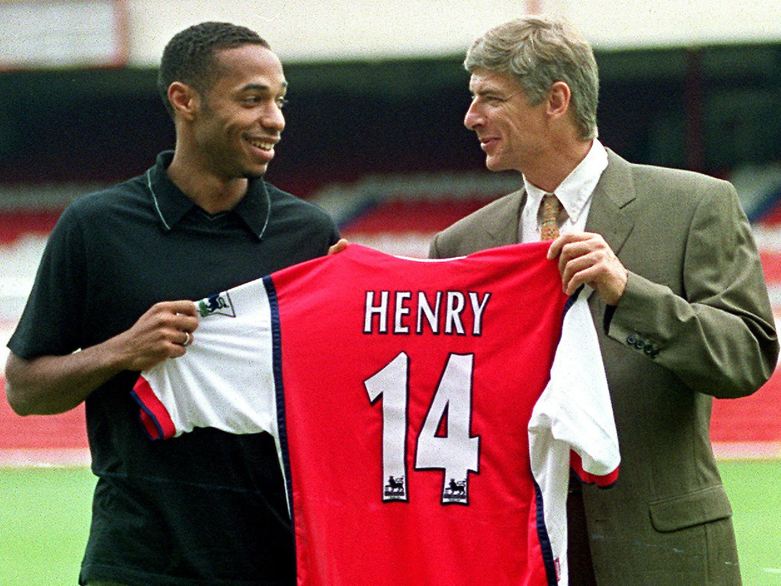 Arsene Wenger with Thierry Henry after signing him from Monaco