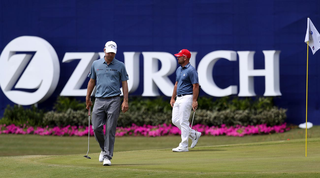 Kevin Kisner and Scott Brown during third round of Zurich Classic