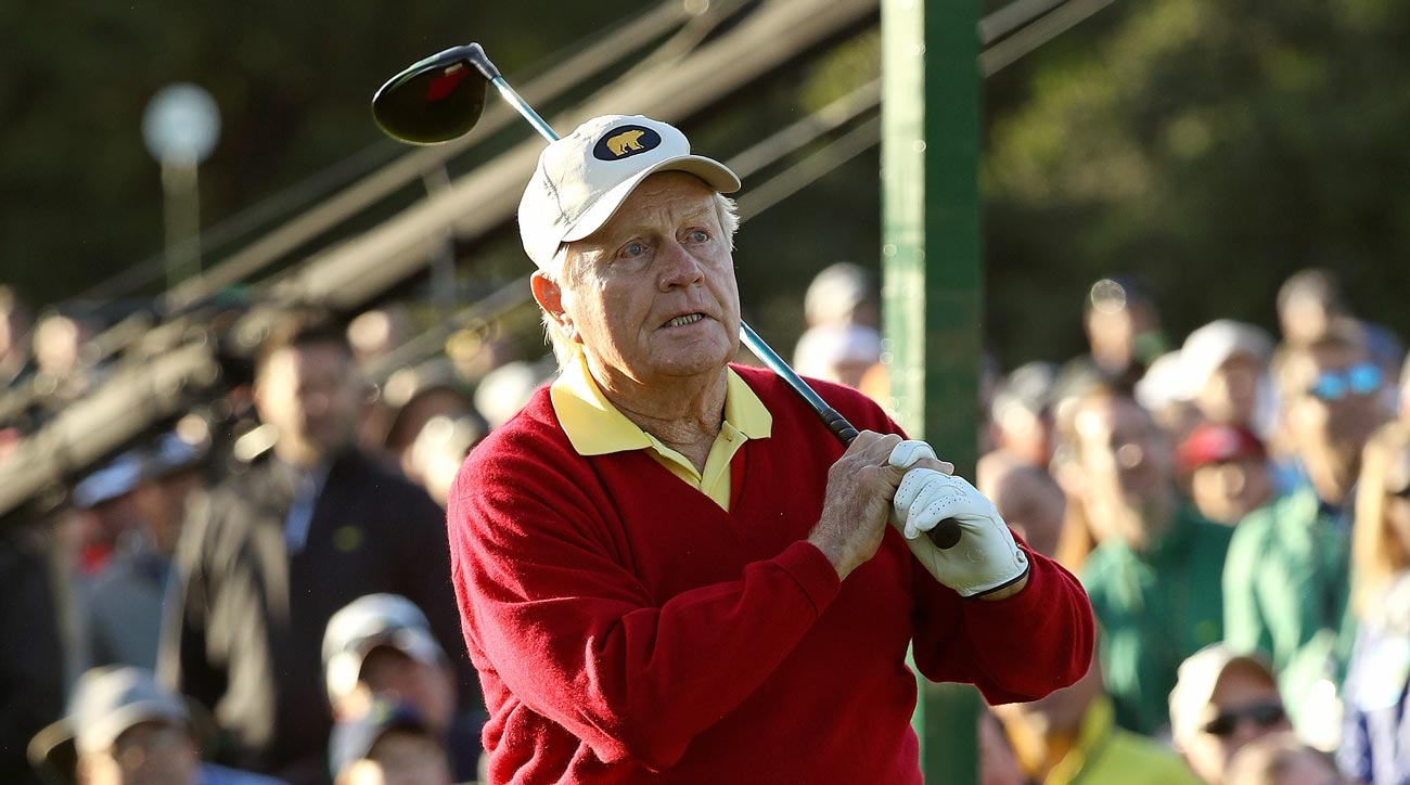 Jack Nicklaus plays a shot on the first tee during the opening tee ceremony prior to the first round of the 2018 Masters.