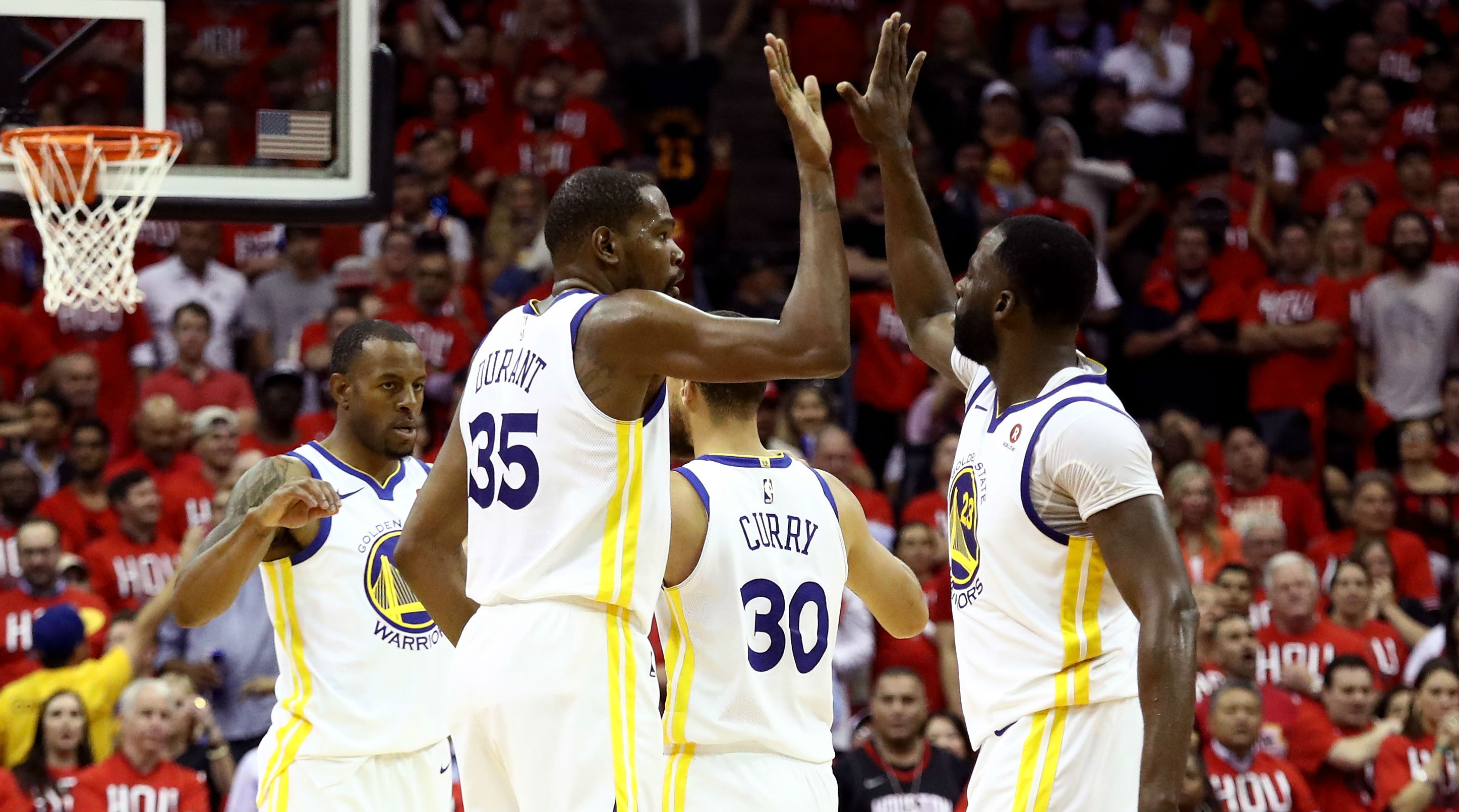 Warriors overcome Harden's Rockets in game one